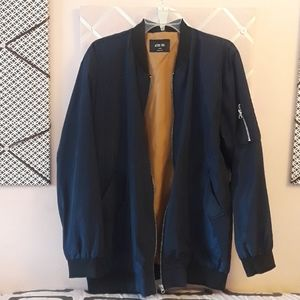 ACTIVE USA Bomber Jacket Long in Navy Womens Sz L